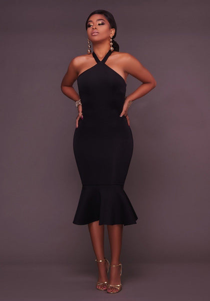 Black Ruffle Backless Halter Neck Bodycon Trumpet Party Maxi Dress