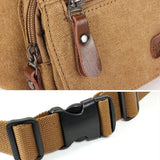 Men Casual Sport Canvas Khaki Coffee Crossbody Chest Bag