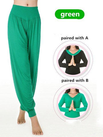 Women Cosy Loose Dancing Fitness Pants Breathable Pure Color Yoga Sweatpants