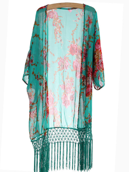 Vintage Floral Tassel Chiffon Beach Wear Cover Up Cardigan