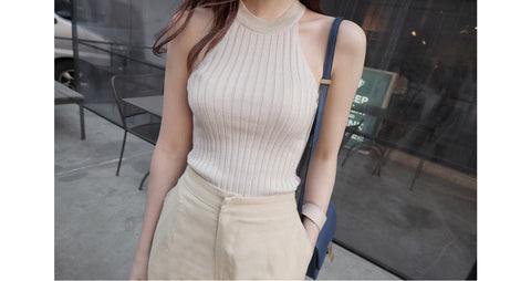 Crop Top Women 2017 Summer Tops Off Shoulder Tank Top Femme Knitted Cotton Halter Cropped Debardeur Blouses Vest Woman Clothes