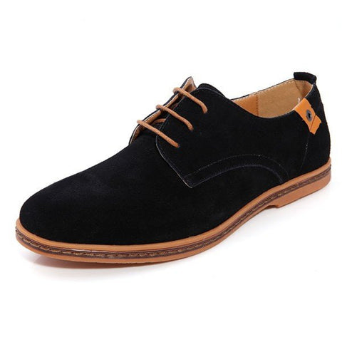 Big Size Men Leather Pure Color Casual Business British Style Lace Up Oxofrd Shoes