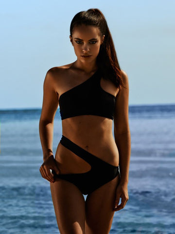 Oblique Shoulder Black Two-Pieces Hollow Sexy Swimsuit Bikini