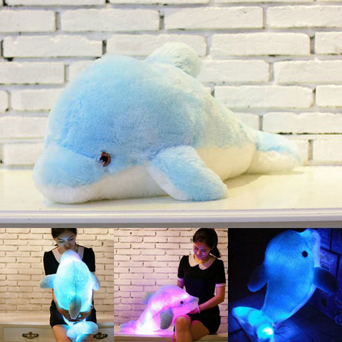 Plush Colorful LED Light Blue Dolphin Shape Throw Pillow