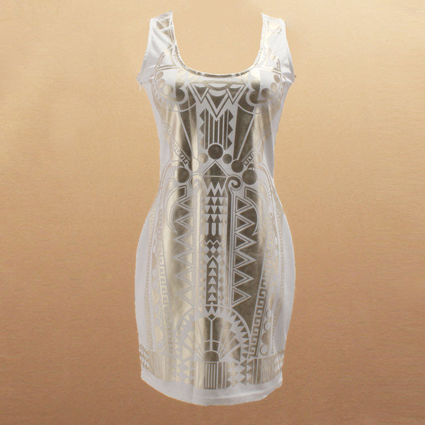 Vintage Printed Spaghetti Strap Sleeveless Slim Elastic Mini Dress For Women