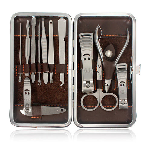 12 Pcs Portable Travel Stainless Steel Nail Care Clipper Pedicure Scissor Tweezer Manicure Set Kit