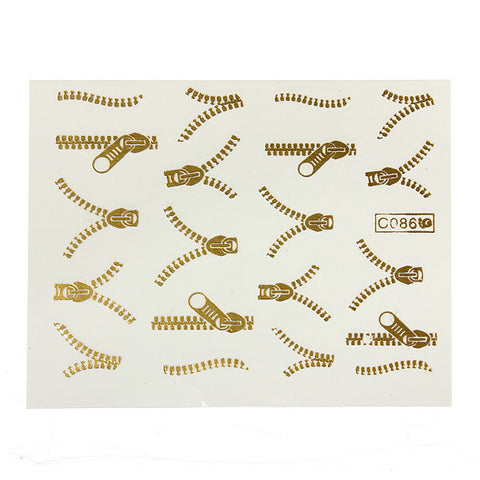 1 Sheet Golden Zipper Nail Art Tips Water Transfer Decals Stickers