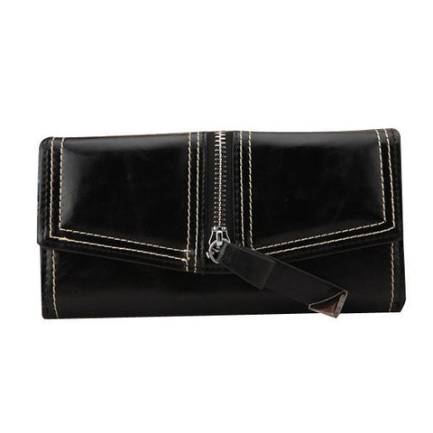 Fashion Women PU Leather 3 Folds Long Clutch Wallet