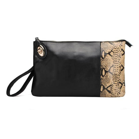 Fashion Snake Print Women Genuine Leather Clutch Bag