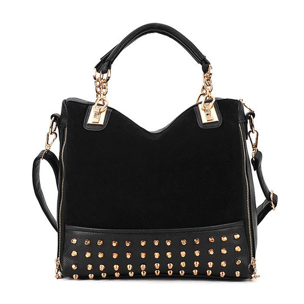 Personality Rivet Decorated Patchwork Corduroy Handbag Crossbody Bag
