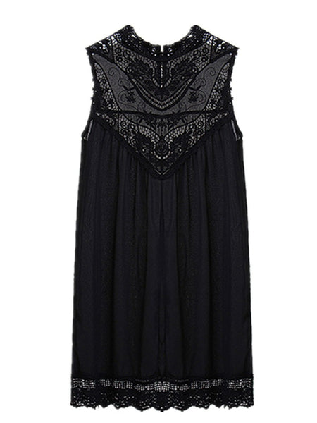 Sexy Chiffion Lace Insert Round Neck Sleeveless Mini Dress For Women