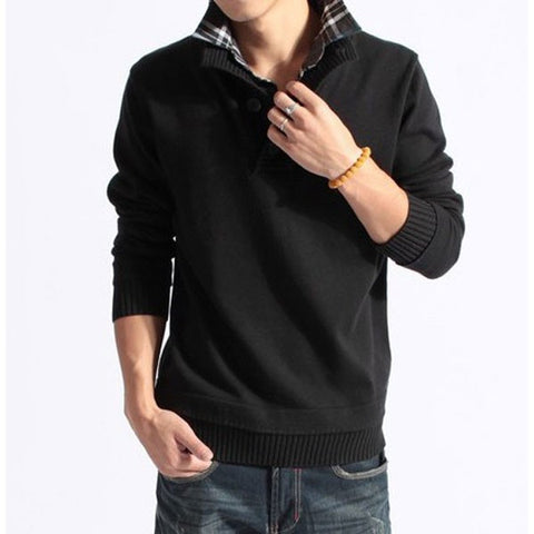 Men's Casual Knit Sweaters Slim Warm Fashion Long-sleeved Mens Tops