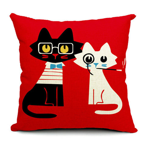 Cute Cartton Cat Print Pillow Case Cotton Linen Pillowcase Home Sofa Office Decor
