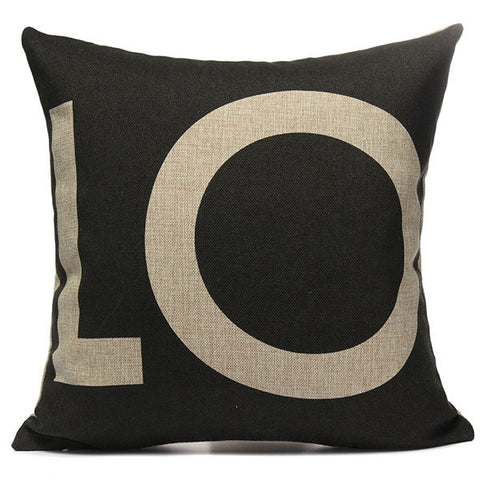 Linen Love Sofa Waist Throw Pillow Case Sofa Office Cushion Cover Home Decor