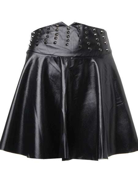 High Waist Synthetic Leather Flared Pleated Mini Skirt