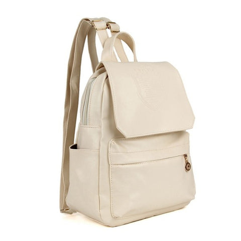 Casual Crown Embossing Women Leather Backpack