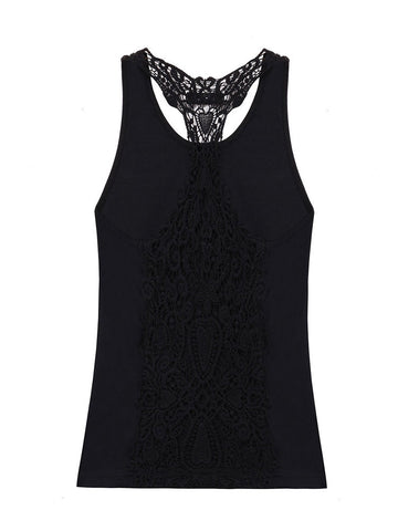 Lace Insert Stylish Women's Hollow Out Sleeveless Solid Color Vest