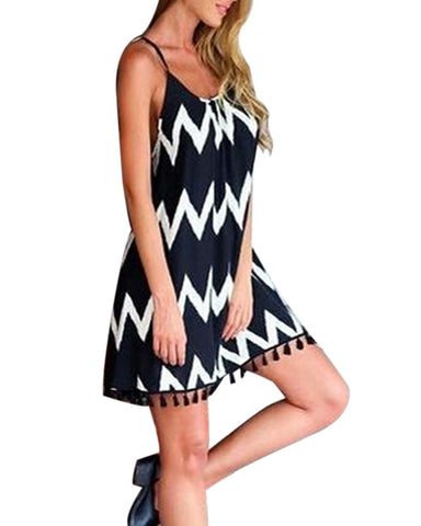 Casual Sleeveless Stripe Zig Zag Spaghetti Strap Tassel Dress