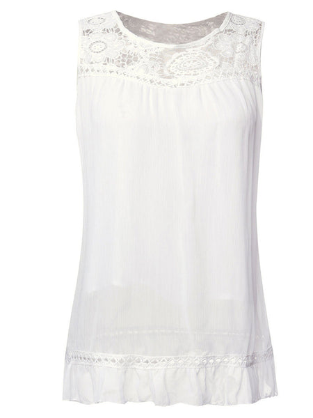 Lace Sleeveless O-Neck Vest Loose Tank Tops For Women