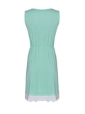 O-Neck Lace Embellished Elastic Waist Sleeveless Mini Dress