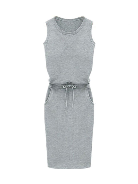 Pure Color Sleeveless Drawstring Casual Vest Dress
