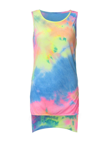Rainbow Print Irregular Hem O-Neck Sleeveless Cotton Tank Top