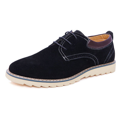 Big Size Men Suede Color Match Lace Up Casual Flat Oxford Shoes