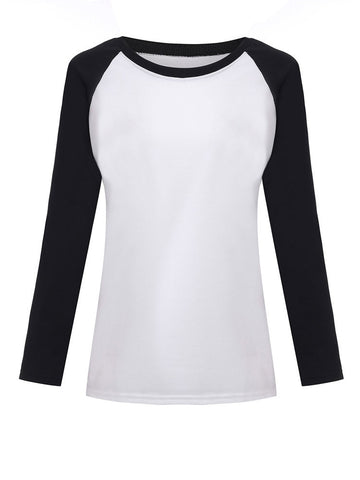 Casual Women Contrast Color Long Sleeve Baseball Cotton T-Shirt