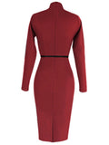 Solid Work Button Long Sleeve Pencil Dress