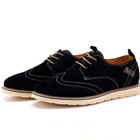 Big Size Men Leather British Style Pure Color Lace Up Flat Brogue Oxford Shoes