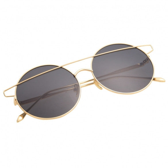 Retro Gold Frame Round Lens Stylish Sunglasses