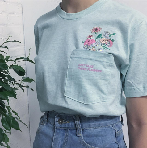 Just take these flowers pocket unisex Tee