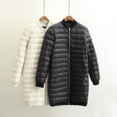 Women Ultra Light Quilted Pilot Long Coat