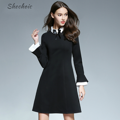 Women Doll Collar Flouncing Slim Dress
