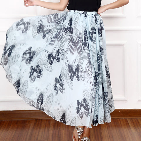 Beach Holiday Dress Pendulum Chiffon Floral Skirt