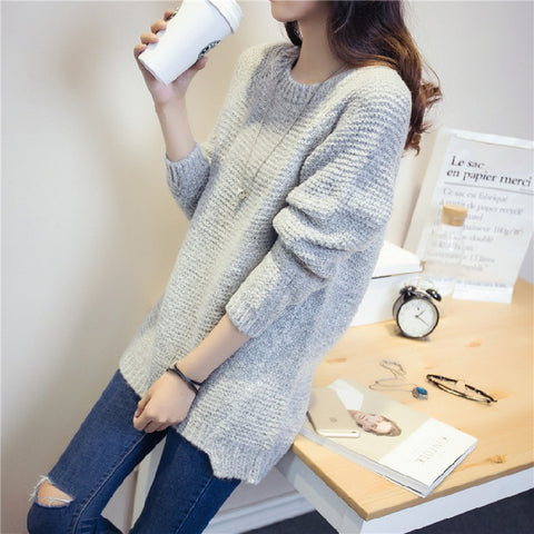 Loose O-Neck Long-Sleeved Shirt Long Sections Coat