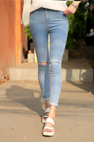 Women Hole Waist Jeans feet Pants