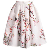 High Waisted Floral Pleated White Skirt