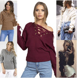 Women Loose Sweater Long Sleeve Lace Up Knitted Sweater
