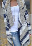 Women Long Sleeve Knitted Striped Cardigan V-neck Irregular Loose Sweater