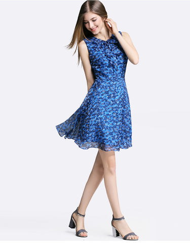 Bow Lacing Star Printing Chiffon Slim Mini Dress