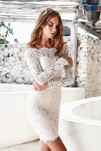 2017 Women Fashion Bodycon Long Sleeve Lace Dress