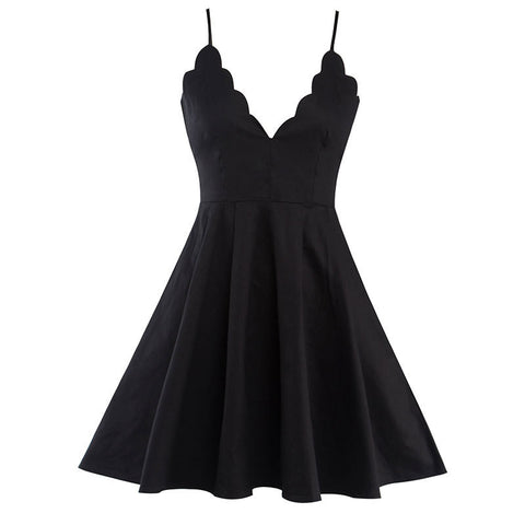 Fashion Deep V-neck Pure Color Sling Formal Dress