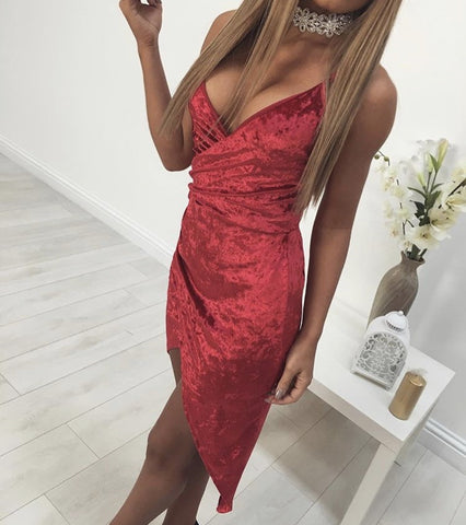 Velvet Irregular Skirt Deep V-neck Harness Vest Dress Party Dress