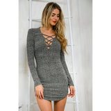 Gray Plunge Lattice Lace Up Long Sleeve Bodycon Mini Dress