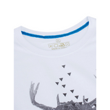 Summer Mens Unique Abstract Deer White Round Neck Short sleeved Tshirts