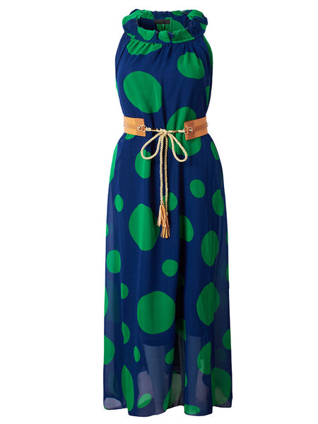 Women Bohemian Polka Dot Chiffon One-Piece Maxi Dress With Belt