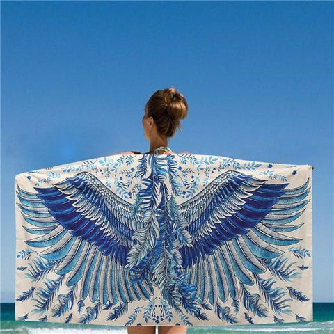150*80CM Women Blue And White Eagle Phoenix Wings Printed Scarves Beach Shawls Mats - shechoic.com