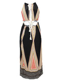 Women Bohemian Halter Hollow Out Back.ess Sexy Dress Beach Maxi Dress