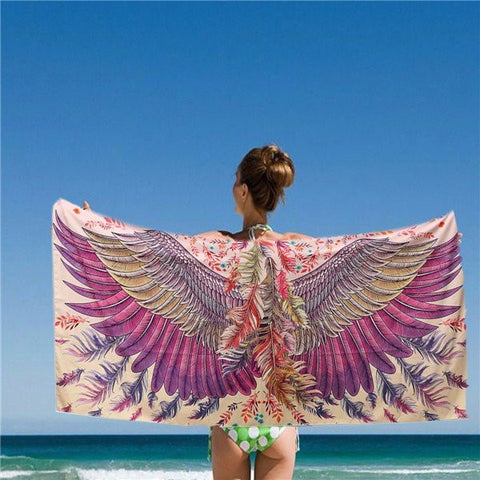 150*80CM Women Purple Eagle Phoenix Wings Printed Scarves Beach Shawls Mats - shechoic.com